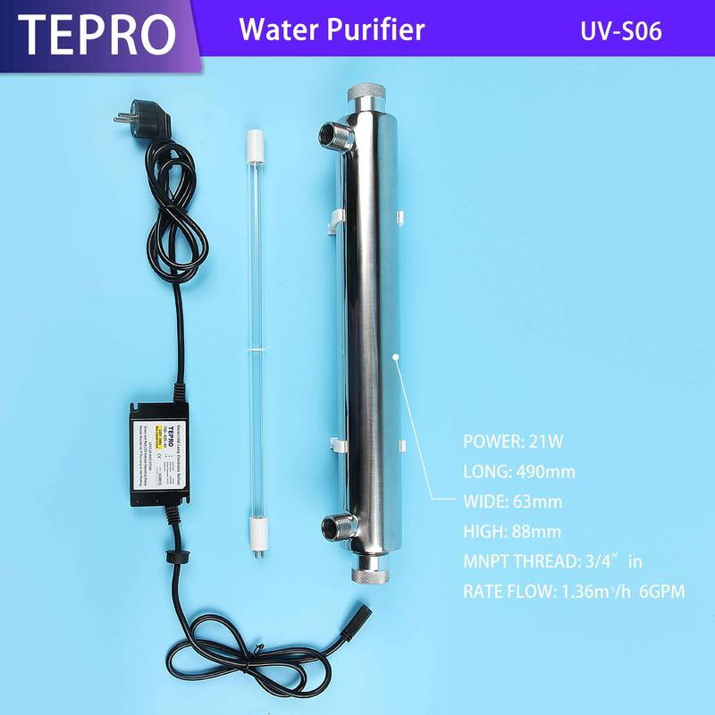 Ultraviolet Water Purifier 6GPM 21W 304/316 Stainless Steel UV-S06