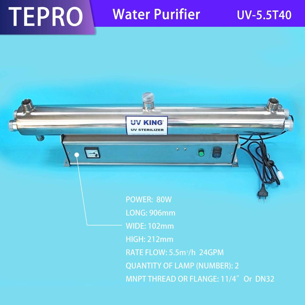 Water Disinfection Ultraviolet UV Sterilizer 24GPM 5.5M3/h UV-5.5T40