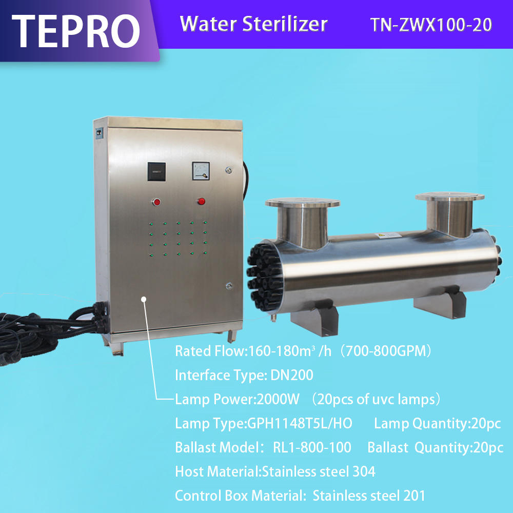 Uv Light Water Purifier Flow 160-180 M3/h TN-ZWX100-20