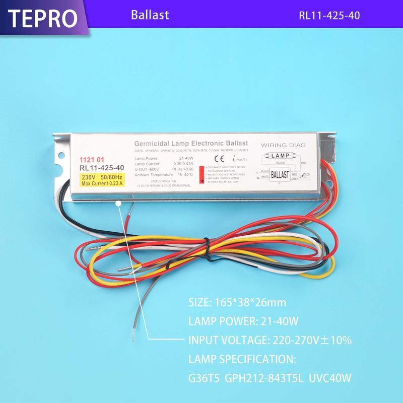 Electronic Driver UV Lamp Ballast 425mA 40W RL11-425-40