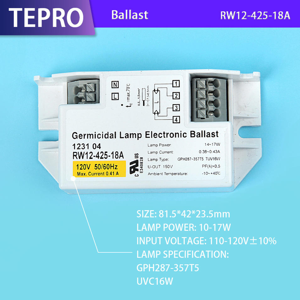 Rapid Start Uv Electronic Ballast UVC Bulb RW12-425-18A