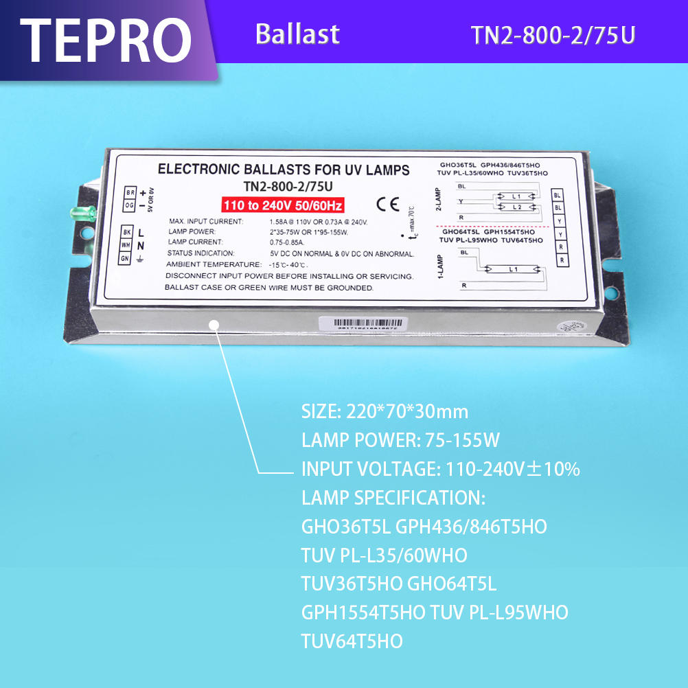 Infrared Heat Lamp Electronic Ballast 110/220V TN2-800-2/75U